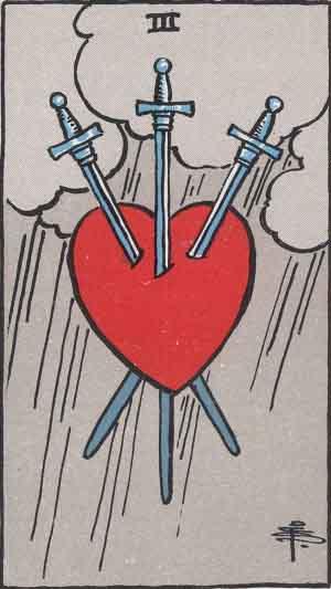 タロットのソードの3の意味(正位置・逆位置・恋愛・アドバイス)